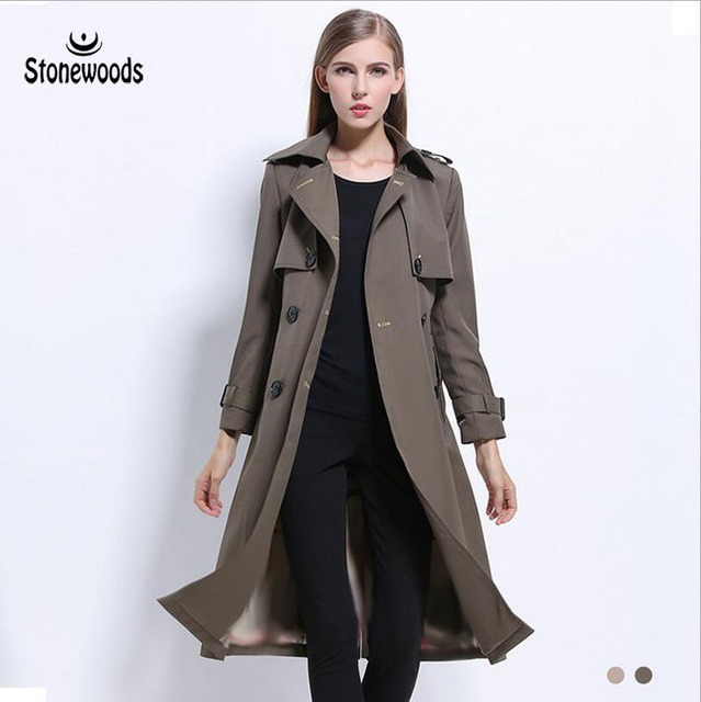 826a8d6f7fa Trench Coat For Women British Style Double Breasted Coat Plus Size Long  Slim Peacoat Women Basic Coats Windbreaker Winter Coat