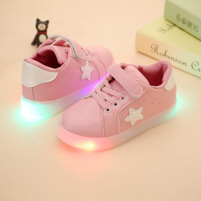 Children Baby Kids Girls Boys Toddler First Walkers Shoes Noir Moccasins LED Growing Luminous Board Shoes