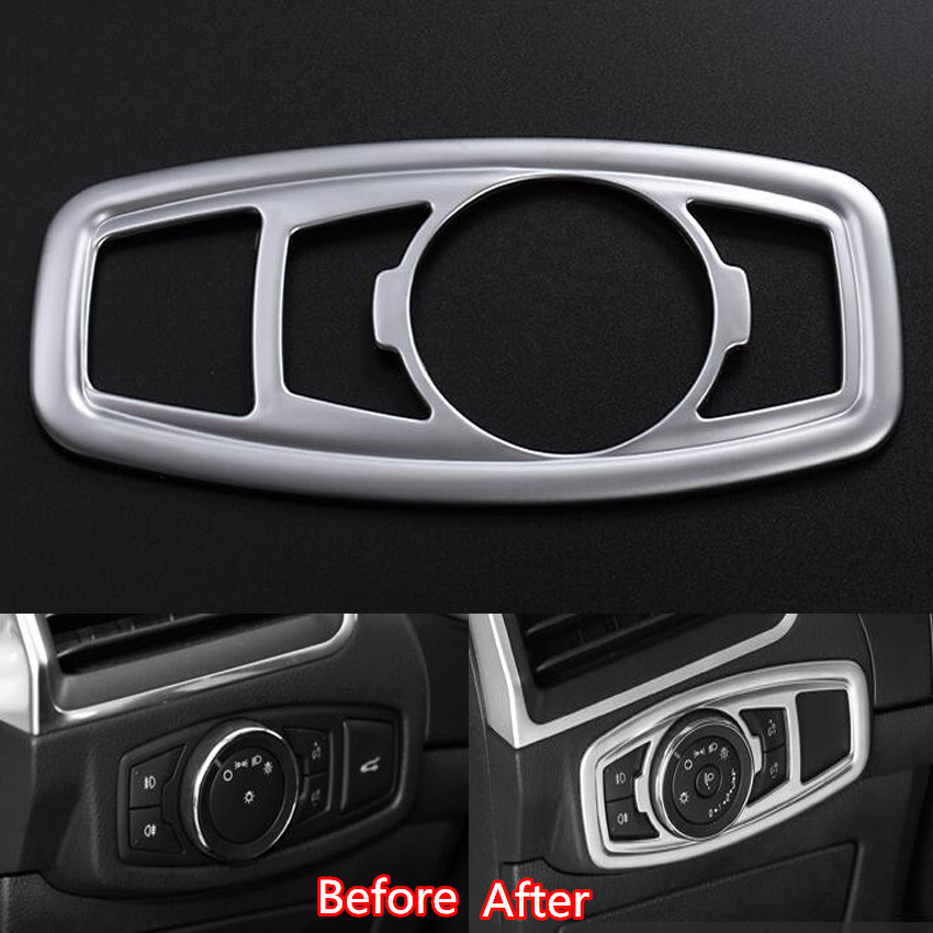 Auto Car Interior Fog Light Lamp Foglights ON/OFF Adjust Button Trim Cover Frame Styling Sticker Fit for Ford Edge 2015 ABS
