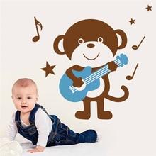 Nette affen playing gitarre wandkunst aufkleber für wohnzimmer kinderzimmer dekoration diy removable decals vinyl