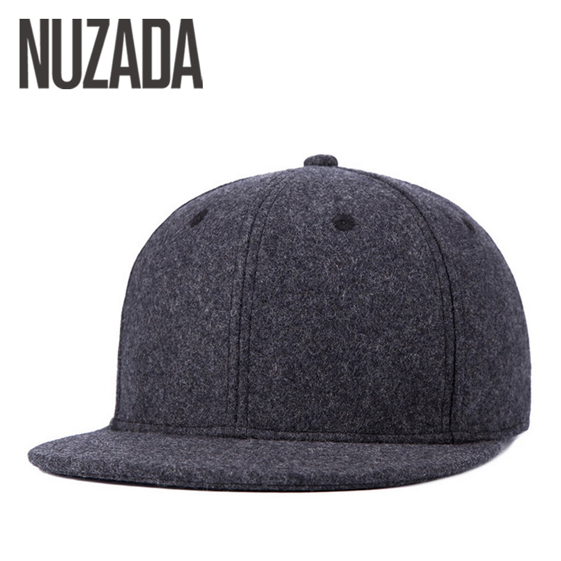 Brand NUZADA Winter Autumn   Baseball     Cap   For Men Women Couple Wool PU Leather Bone Quality   Caps   Thick Warm Hats Snapback