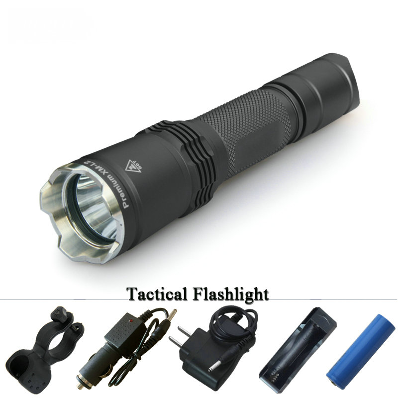 CREE XM-L2 Military LED flashlight tactical torch waterproof shock Resistant hard light lanterna 18650 rechargeable battery tactical flashlight led torch cree xm l2 waterproof flash light 18650 rechargeable battery tactical frame tail switch