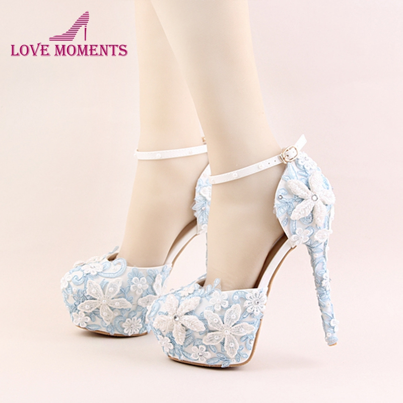 Newest Designer Blue Lace Shoes White Flower Bridal Wedding Shoes Imitation Pearl High Heels Platform Stiletto