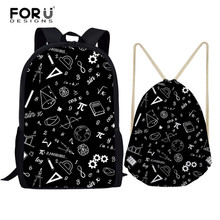 FORUDESIGNS Math Formula Print Backpack School Bags For Teen