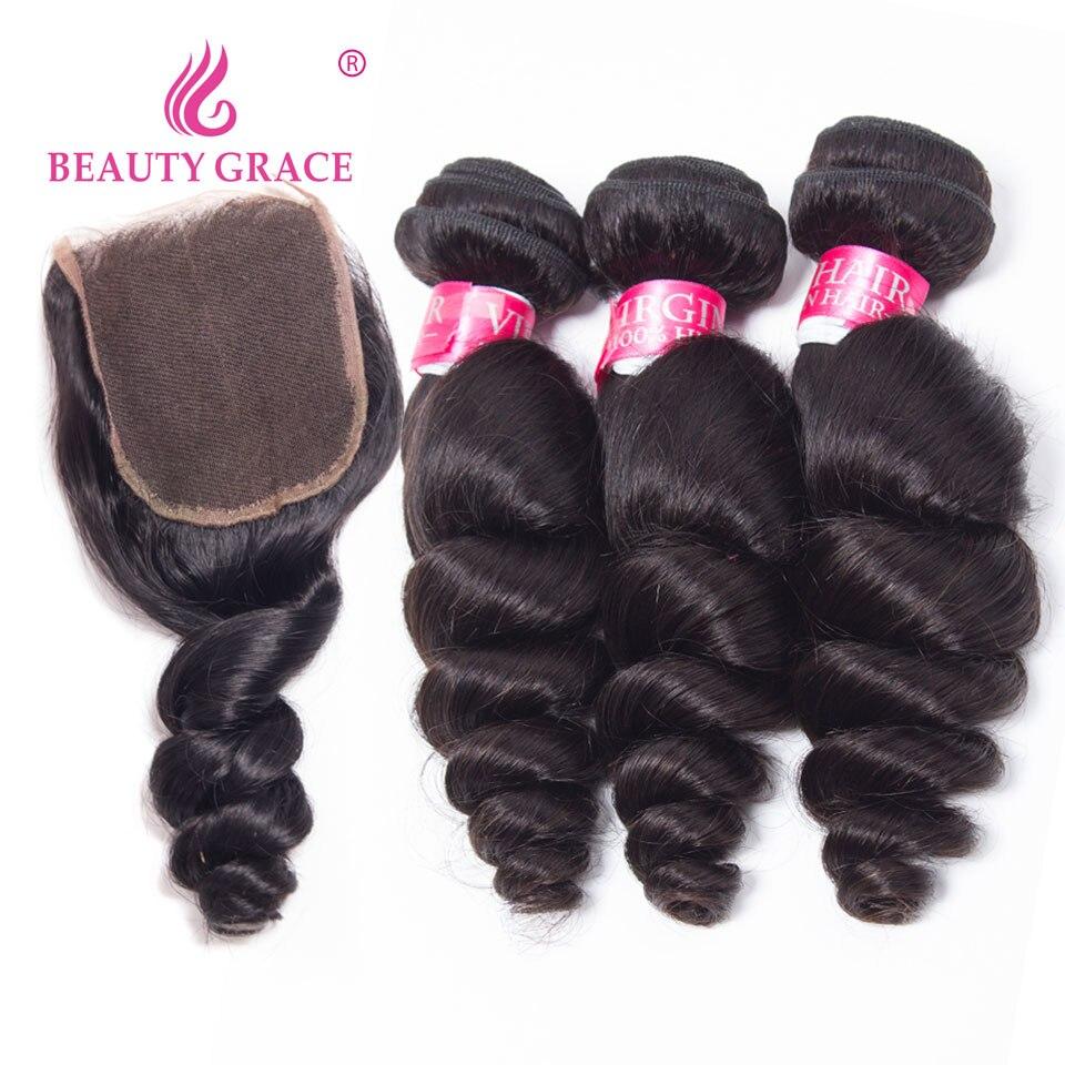 Beauty Grace Indian Hair Loose Wave Bundles With Closure Human Hair Bundles With Closure Non Remy Weave 3 Bundles With Closure