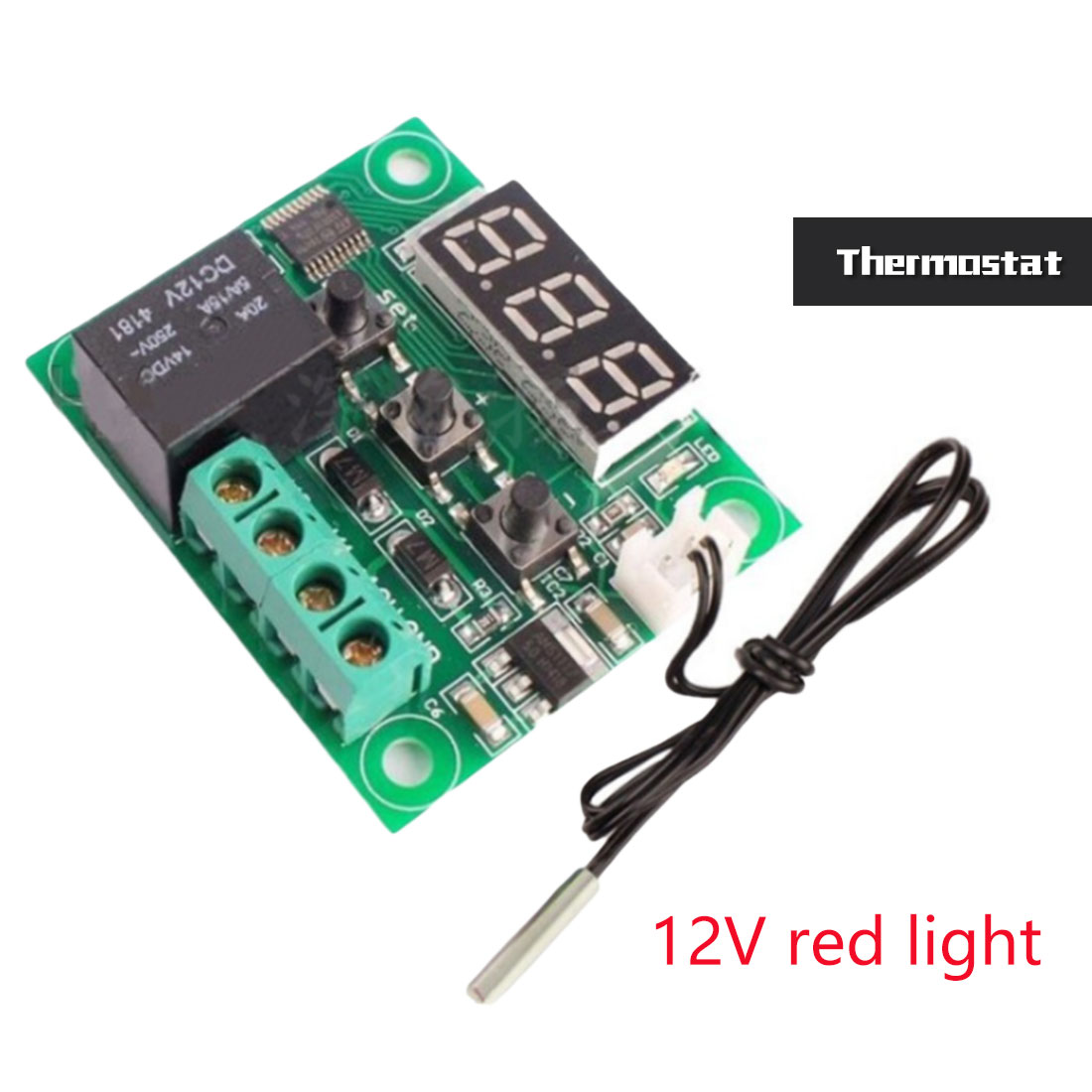 1PCS W1209 DC 12/24V heat cool temp thermostat temperature control switch temperature controller thermometer thermo controller w1209 green led digital thermostat temperature control thermometer thermo controller switch module dc 12v waterproof ntc sensor