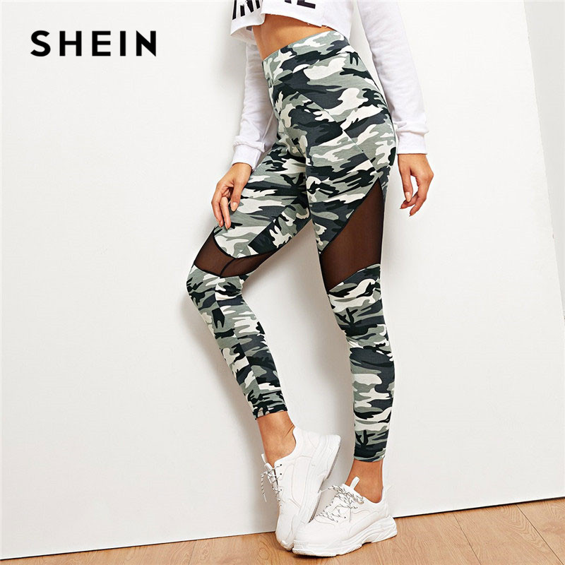 SHEIN Multicolor Mesh Insert Camo Print   Leggings   Sporting Patchwork Sheer Crop Pants Women Spring Athleisure   Leggings