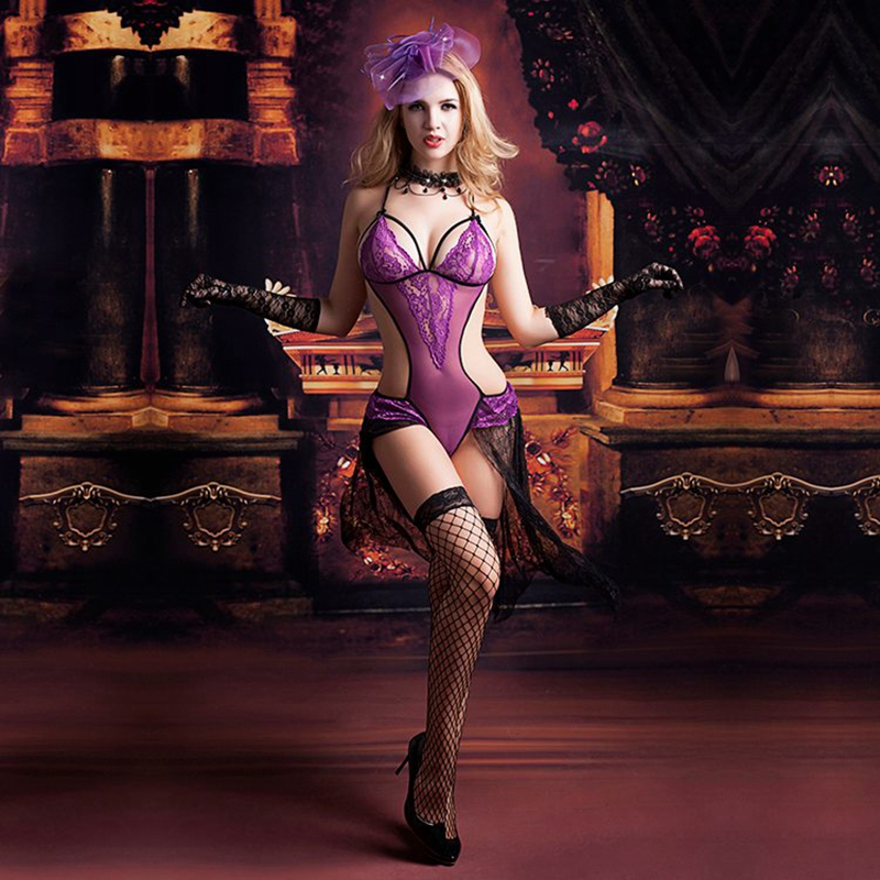 Women Porno Lingerie Backless Purple Babydoll With Long Lace Tail Sexy Night Sleep Dress Hot Erotic Nightgown Underwear