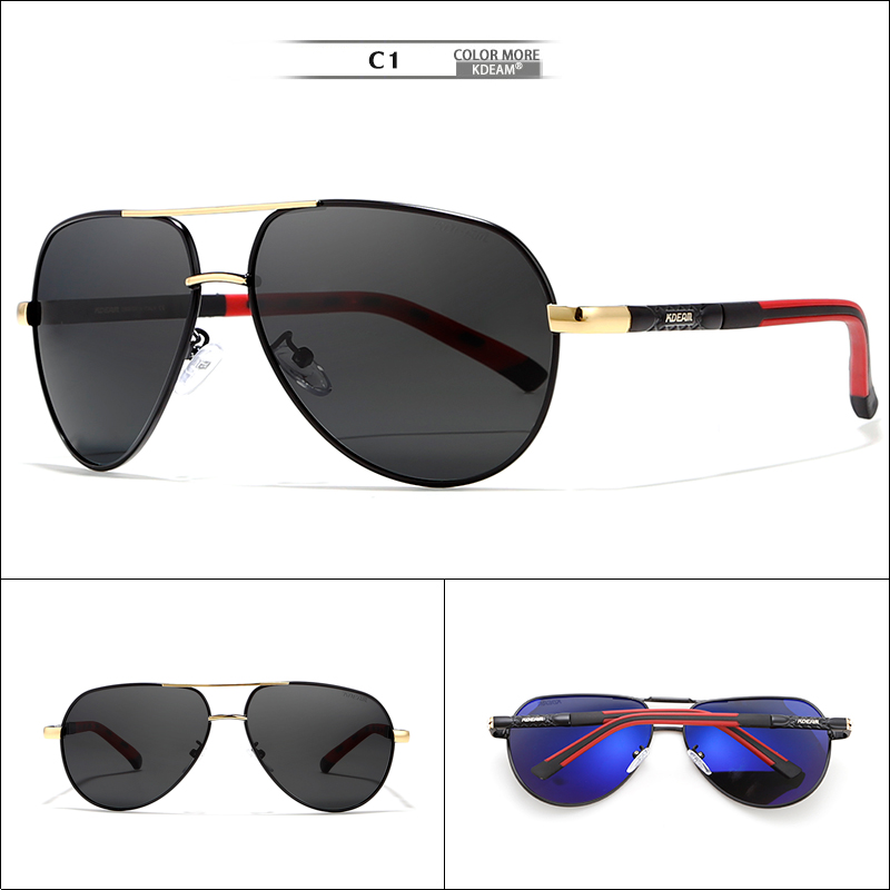 730ec9e8a1f KDEAM 63mm Pilot Men Sunglasses Polarized Outdoor Sun Glasses Driving  Stainless Steel Spring-loaded Hinges Include Full Pack