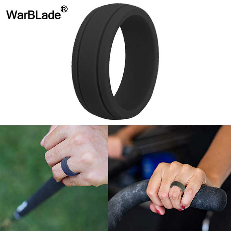 2019 New Food Grade FDA Silicone Rings 8mm Hypoallergenic Crossfit Flexible Rubber Finger Ring For Women Men Wedding Rings Bands