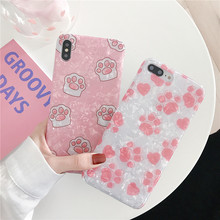 Very Cute Cat claw shell Mobile phone Marble cover fundas For Apple iPhone XR X 8 7 plus 6 6s XS MAX marble cases