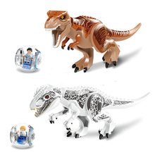 Купить с кэшбэком 2015 NEW LELE 79151 2 Pcs Jurassic World Indominus Rex T. Rex Building Blocks toys Dinosaur Hero Figure Compatible With Lego