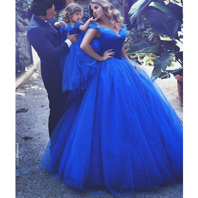 2365705d88f Cinderella Royal Blue Prom Dresses 2017 Ball Gowns Cinderella Dress Off The  Shoulder with Pearl Bead Butterflies Evening Gowns