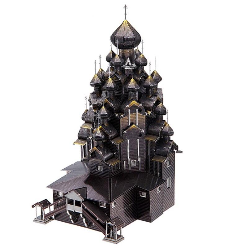 Morceau 3D Puzzle bricolage Miniature KIZHI église de la TRANSFIGURATION 430 acier inoxydable métal assemblage modèle épissure passe-temps