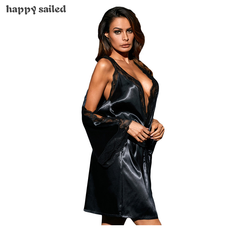 d34018faf0 Happy Sailed Kimono Bathrobe Dressing Gown Women Short Bride Black Long  Sleeve Satin Lace Nightdress with Belt Sleepwear LC31077-in Babydolls    Chemises ...
