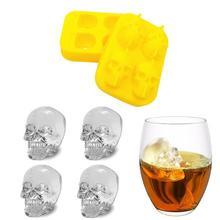 3D Ice Cube Mold Skeleton Skull Form Винный коктейль Ice Силиконовый куб Лоток для бара Аксессуары Creative Candy Mold