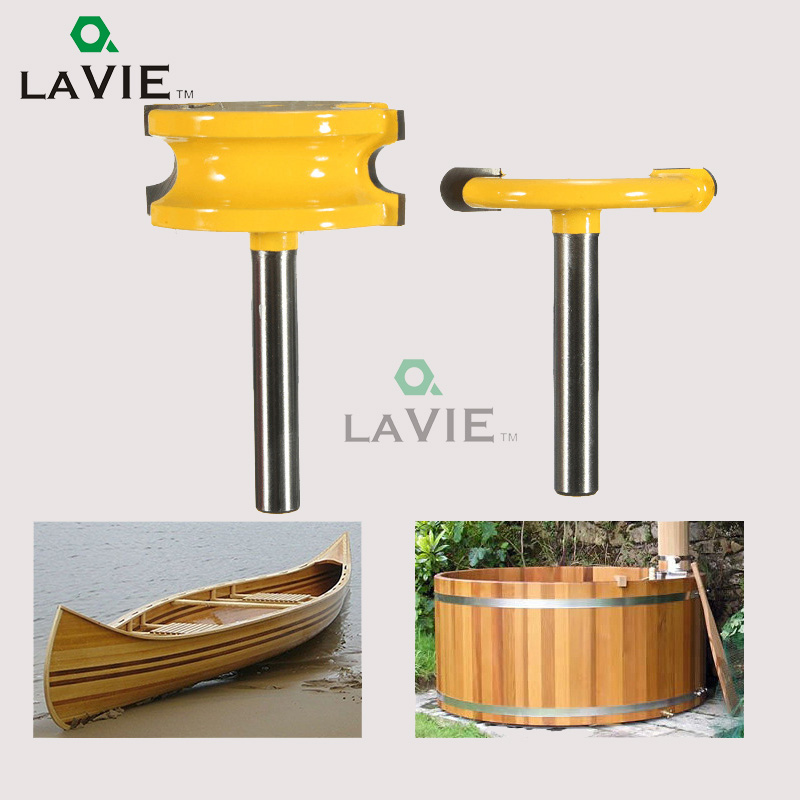 LA VIE 2 pc 1/4 Shank Arc T-Shaped Tenon Knife Slotting Router Bit Set Carving Machine Wood Milling Cutter MC01003