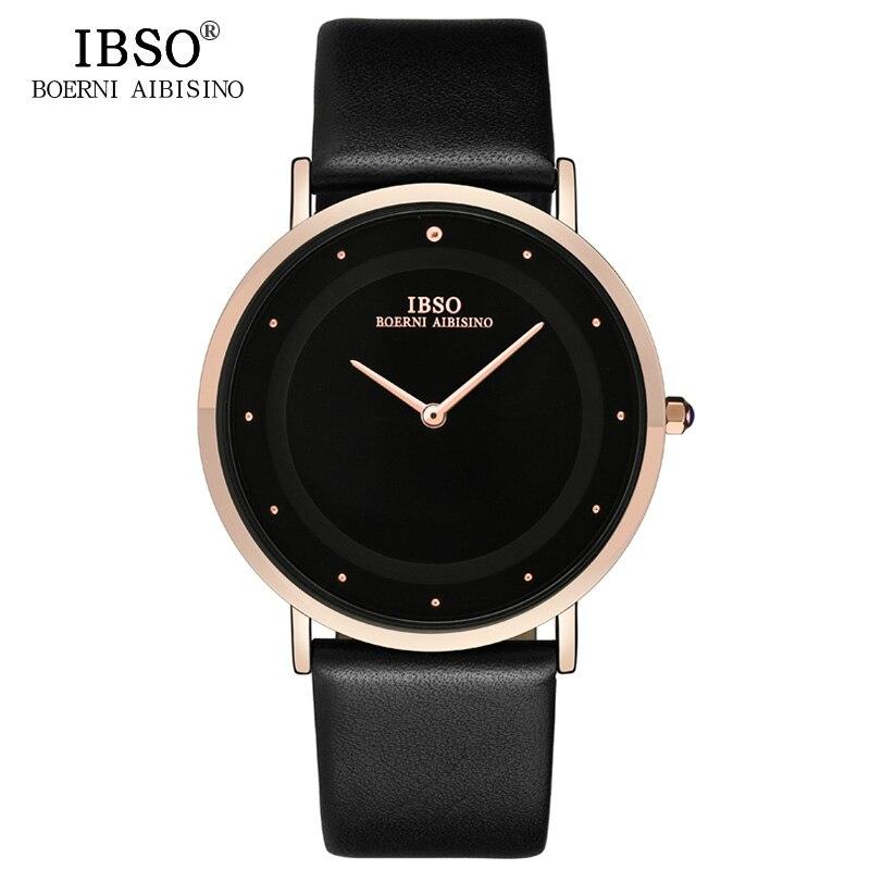 IBSO 2017 Black Top Brand Luxury Mens Watches 7MM Ultra-thin Quartz Wristwatch Genuine Leather Strap Waterproof Watch Men велосипед kross hexagon b3 2017