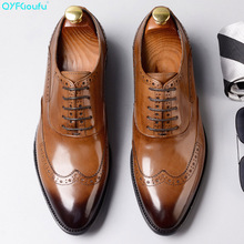 QYFCIOUFU 2019 Hot Handmade Vintage brogue shoes men Luxury Fashion Wedding Party mens dress Genuine Leather oxford Shoes