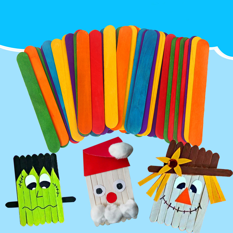 50PCS Wood Chips Natural Color Wooden Popsicle Stick Ice Cream Stick Children DIY Handmade Creative Material Crafts Educational