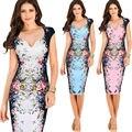 Женщины Элегантные Цветы Цветочные Печатный Платье Костюм Ruched Cap Рукавом Рюшами Повседневная Невесты мать Невесты Вечернее Платье