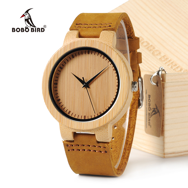 BOBO BIRD Simple Men Watches Bamboo Case Leather Strap Wooden Wristwatch for Male in Gift Box hand made mens wooden bamboo quartz watch black genuine leather watchband simple unique modern wristwatch gift for male female