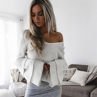2017 Women SweaterLong Sleeve Knitted Pullover Loose Sweater Jumper Tops Knitwear V Neck