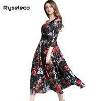 High Quality Women Flower Print Lace Dress 2017 Summer Fall Retro Long Maxi Evening Party Dresses 3/4Sleeve Beach Casual Vestido