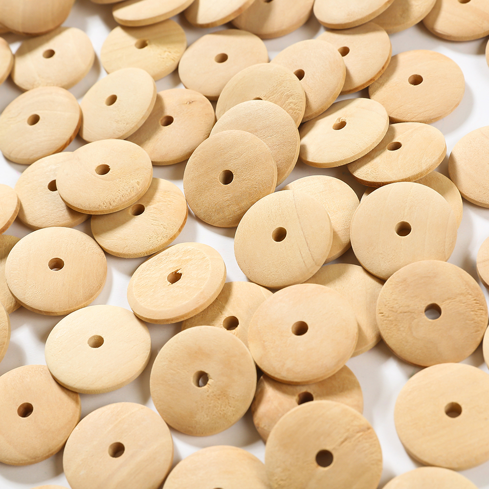 30pcs Round Wood Ball Bead Spacer Natural Unfinished DIY Craft Jewelry