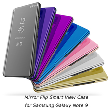 Note9 Mirror Flip Case For Samsung Galaxy Note 9 Luxury Clear View PU Leather Cover Smart phone