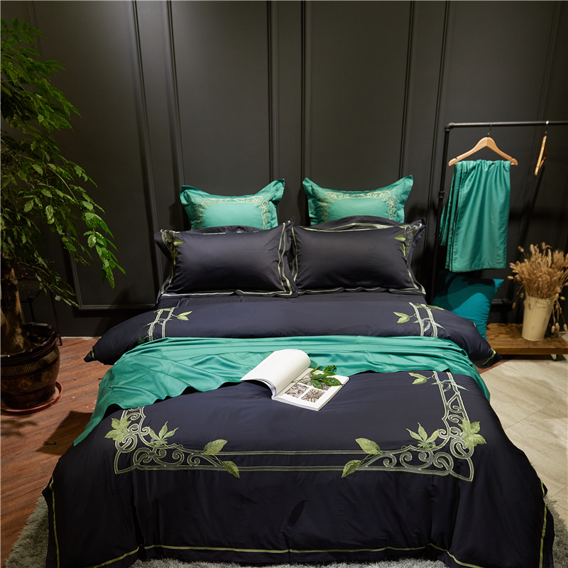 Egyptian cotton Bedding Set leaf Embroidery Bed Linens Bed Sheet Set black white Bedclothes Queen/King Size Bed cover 4/6pcs