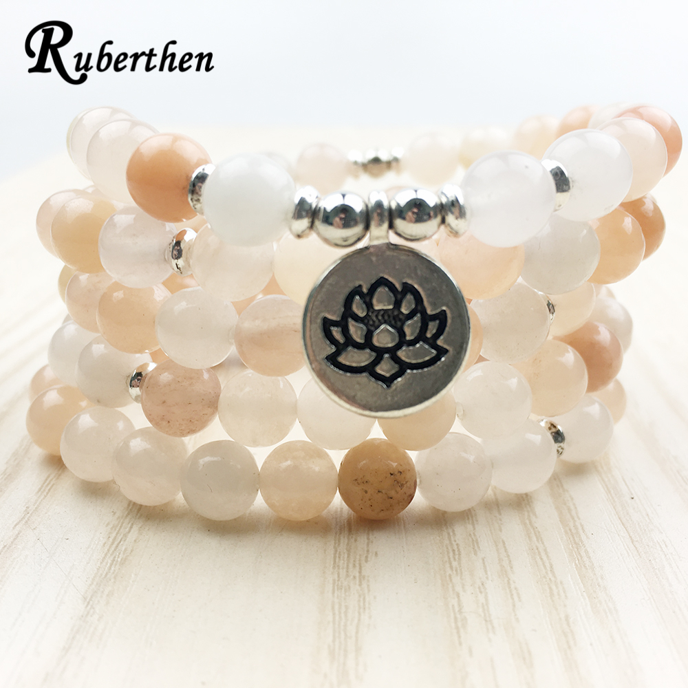 Ruberthen New Design Women s Mala Beads Bracelet High Quality Pink Aventurine Yoga Bracelet or Necklace