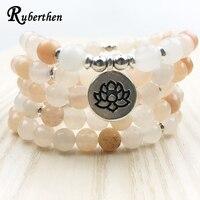 Ruberthen Nieuwe Ontwerp vrouwen Mala Kralen Armband Hoge Kwaliteit Roze Aventurijn Yoga Armband of Ketting Trendy Lotus Sieraden