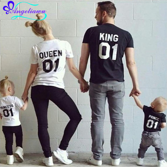 6257af4b21 Summer Family Clothing Sets Short Sleeve Father Son Matching Clothes King  Queen Family Look Father Son Mother Daughter Outfits