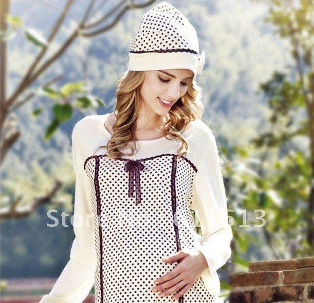 Pregnant women hat comfortable and soft dress maternity cap bowknot dot maternal beanies (20 pcs/lots)20pcs A38 free shipping