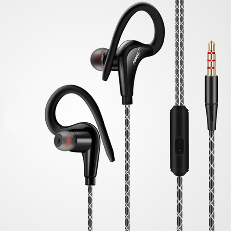 HSWT Sports Earphones Wired Earphones Waterproof Stereo Headset For Phone Outdoor Running Earbuds With Handsfree Built-in Mic