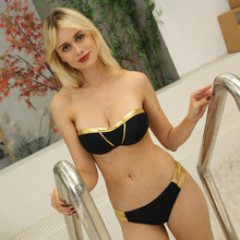 Sexy Push up Bikini Swimsuit Golden Bandage For Women Swimwear Set Swim Suit Splicing Off Shoulder Femal