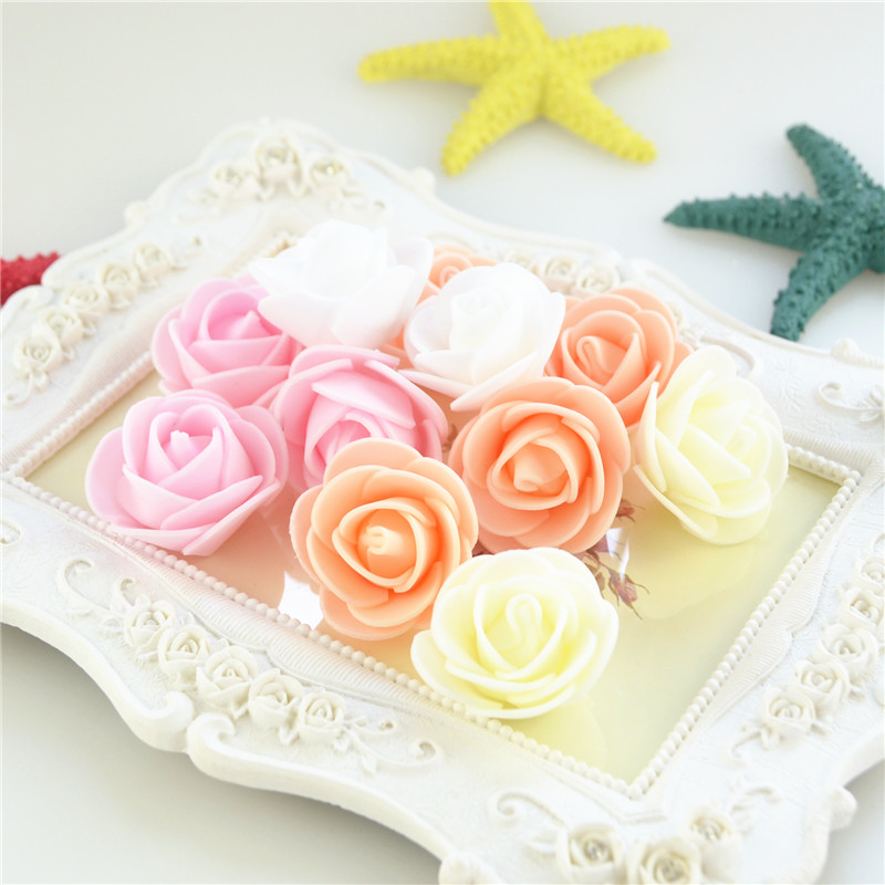 50pcs/Bag Multicolor Mini Rose Head Artificial Flowers For Wedding And Festival Party 7