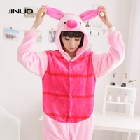 Jinuo Piglet Pig Pajamas Animal Cosplay Costume Kid Adult Pajamas Onesies Cartoon Sleepwear Sleepsuit