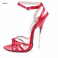 LLXF Crossdresser пикантные сандалии с ремешками на лодыжках плюс: 35 45 46 16 см на тонком металлическом каблуке женские босоножки модные Sandalias Para Mujer