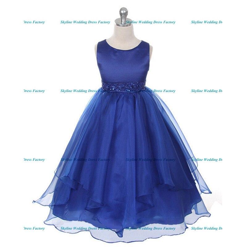 546e59930eb Bretelles spaghetti couleur bleu Royal rose robe de bal en tulle moelleux  robes de demoiselle d honneur pour les mariages soirée dans Fleur Fille  Robes de ...