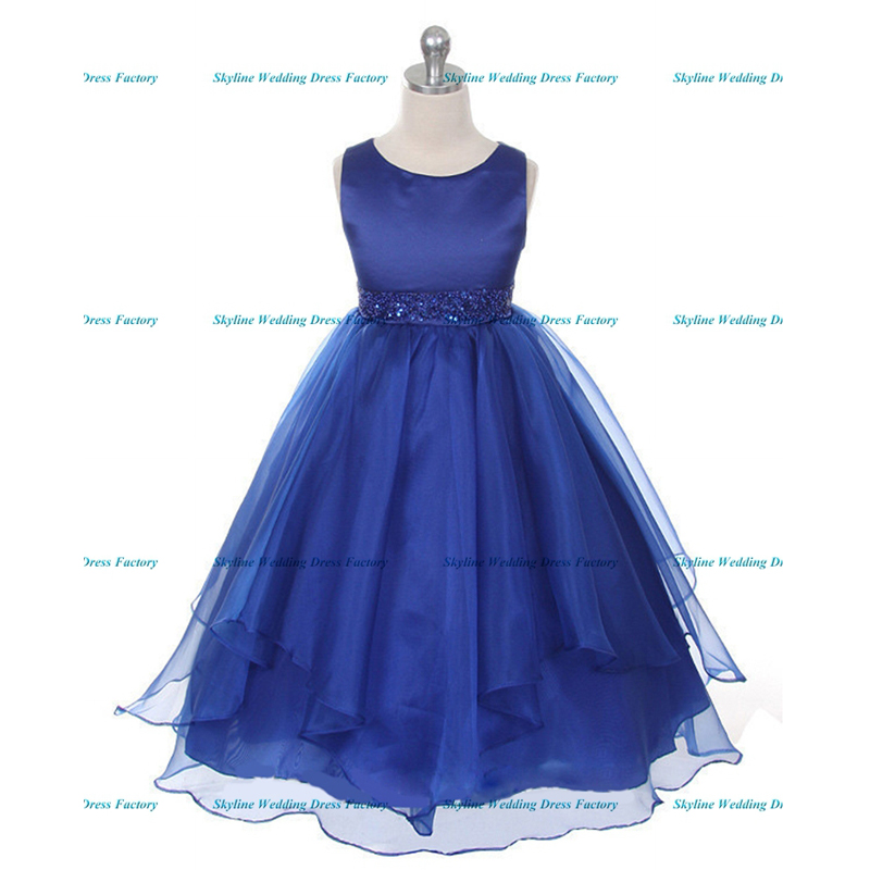 Royal blue/pink color spaghetti straps fluffy tulle ball gown flower ...