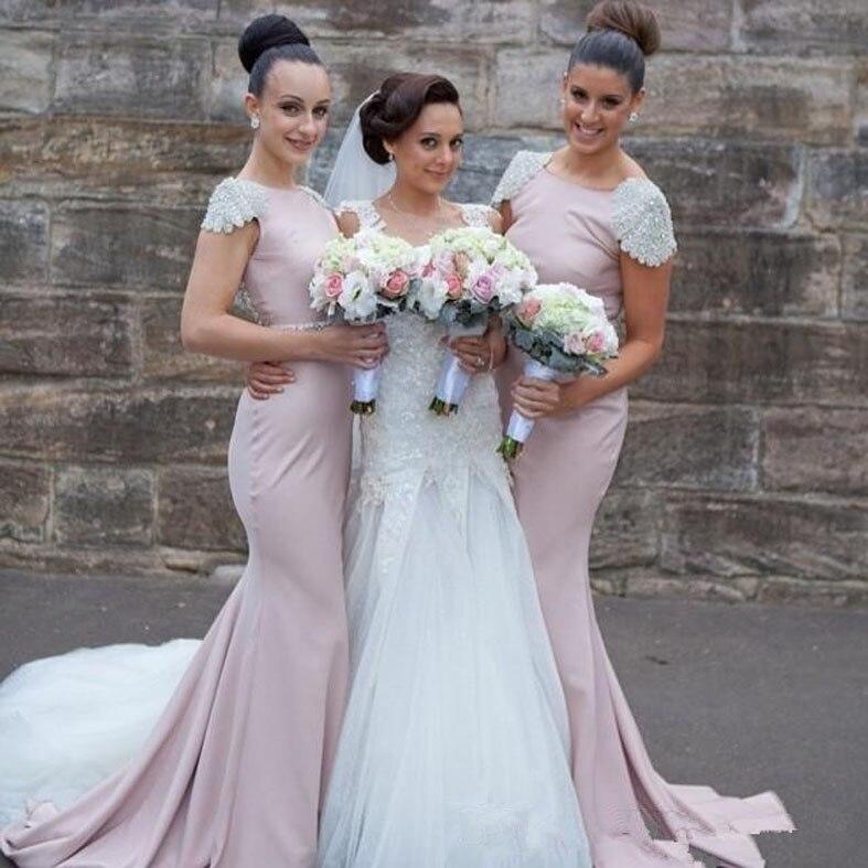 Элегантные нарядные платья для свадьбы Бато бисера Серебро V Назад Русалка Подружкам невесты