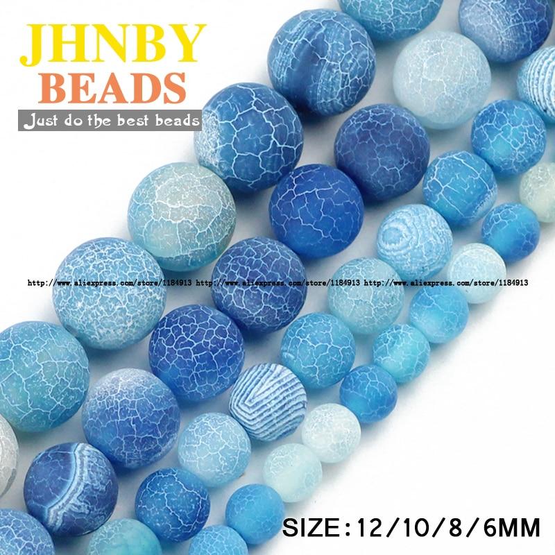 JHNBY AAA See blau verwitterte Karneol Perlen Naturstein 6/8/10 / 12MM Runde lose Kugel für Schmuck Armband DIY