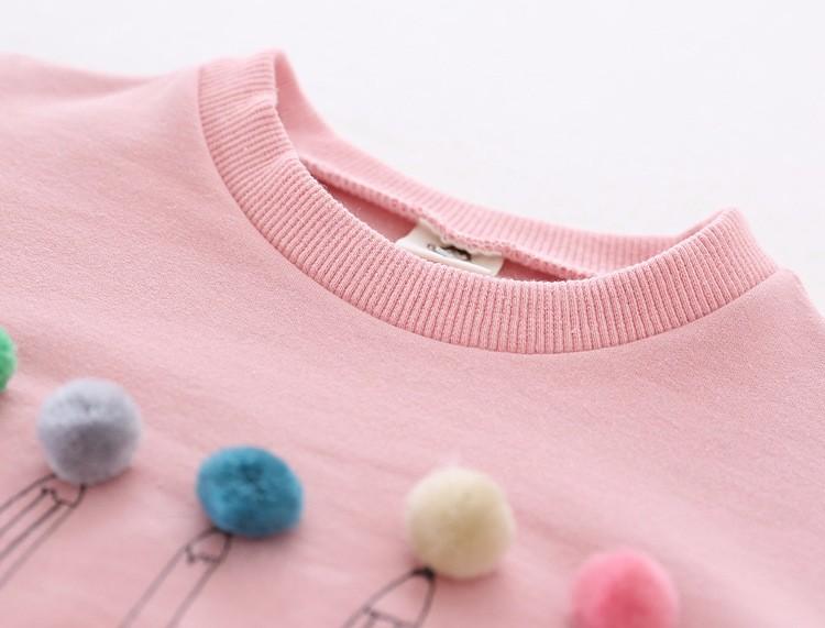 baby girl autumn fleece colorful fur balls pencil printed hoodies sweatshirt (10)