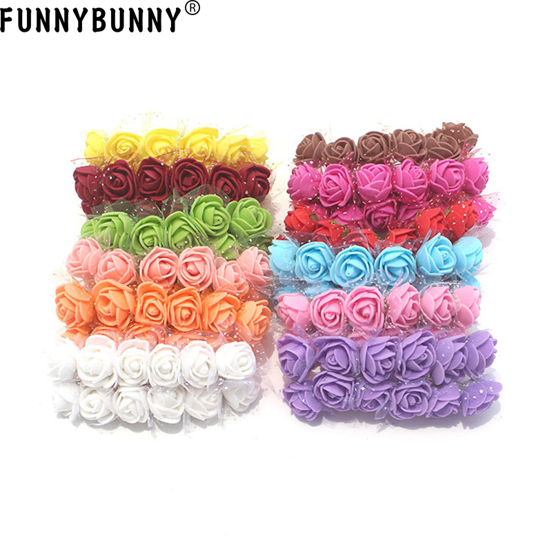 FUNNYBUNNY 12pcs Mini Artificial Roses DIY Wedding Flowers Accessories Make Bridal Hair Clips Headbands Dress (bottom add gauze)
