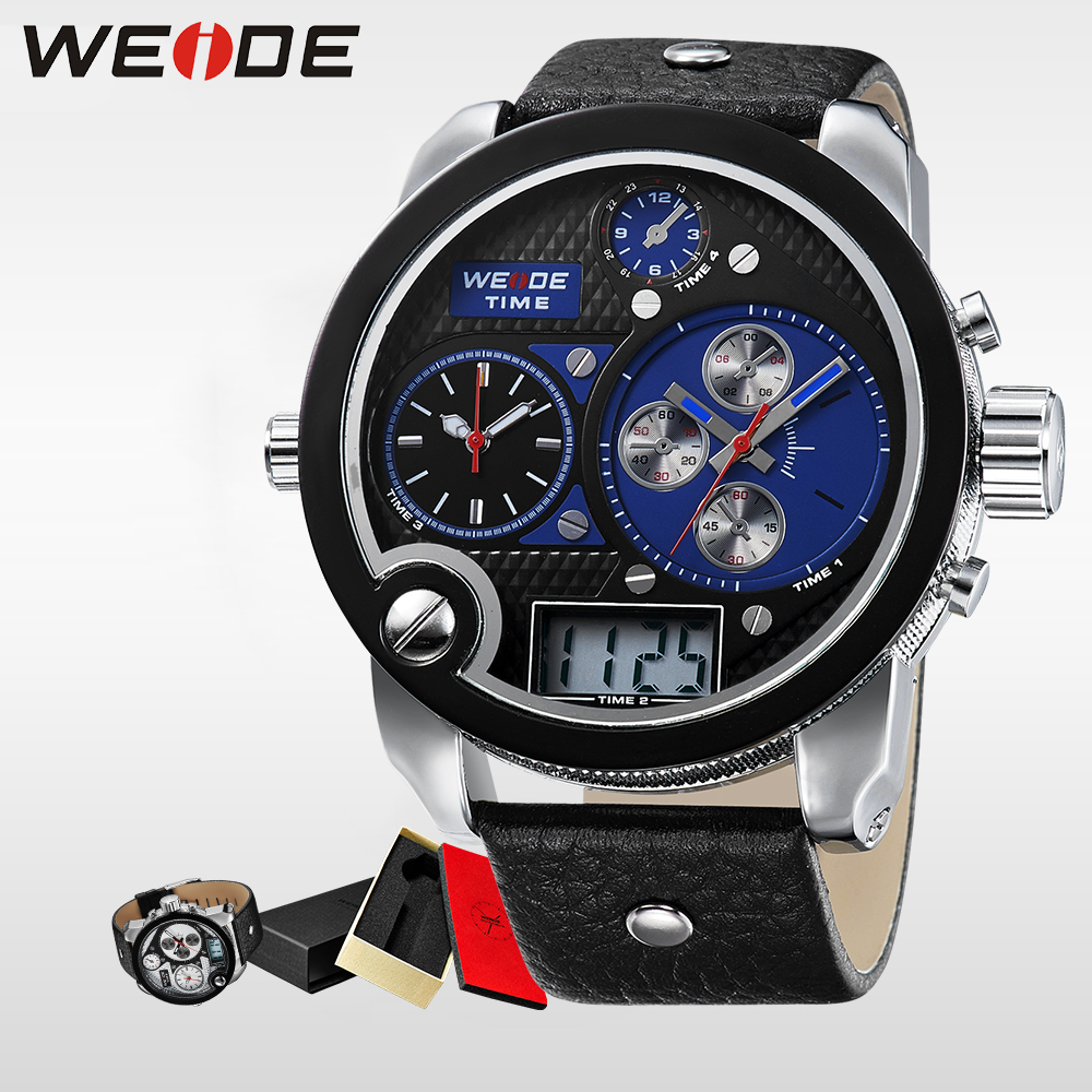 WEIDE Brand Fashion Men Sport Watches Big Dial With  Analog Digital Display Waterproof Leather strap steampunk men watch 2305 waterproof weide brand military watch big round dial analog two time zones display leather strap men army sports waches relogio