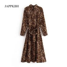 d0ca06ac15b3 JAPPKBH Leopard Print Dress Women Autumn Spring Vintage Sashes Women Dress  Elegant Long Sleeve Sexy Dresses. 2 Colors Available
