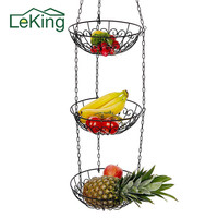 Three layers Multi Functional Fruit Plant Hanging Basket Flower Pot Plant Pot With Hanging Chain For Home Garden Balcony Decor