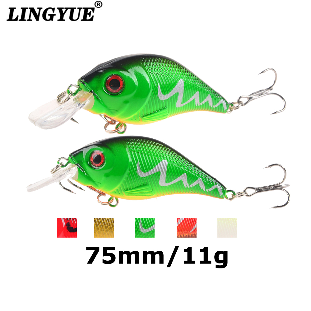 LINGYUE 7.5cm/11g Hard Crank Fishing Lures 3D Eyes Crankbaits Artificial Bait Bass 6# Hooks Minnow Wobblers Japan Pesca